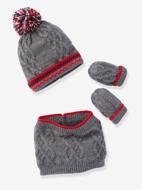 Baby-Hats & Accessories-Lined Beanie + Snood + Mittens Set, for Babies