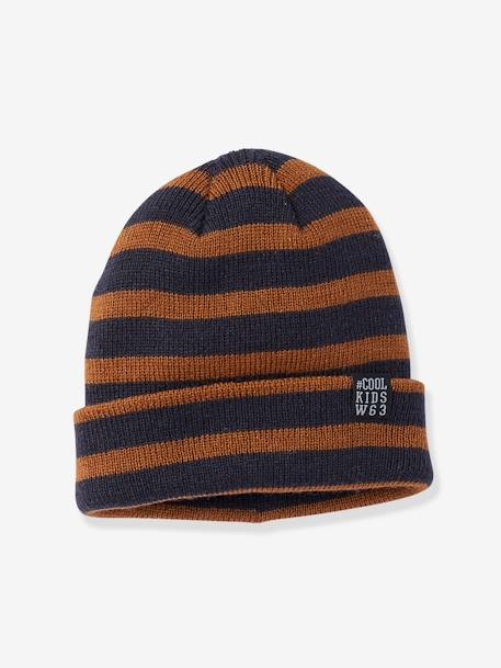 Striped Sailor-look Beanie, for Boys BROWN MEDIUM SOLID+GREY DARK MIXED COLOR - vertbaudet enfant