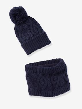 Christmas collection-Boys-Accessories-Beanie with Pompom + Cable Knit Snood Set, for Boys