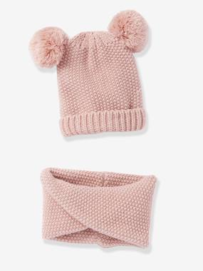 Girls-Accessories-Winter Hats, Scarves, Gloves & Mittens-Beanie with Pompons + Crossover Snood Set, for Girls
