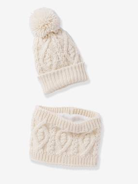 Boys-Accessories-Winter Hats, Scarves & Gloves-Beanie with Pompom + Cable Knit Snood Set, for Boys
