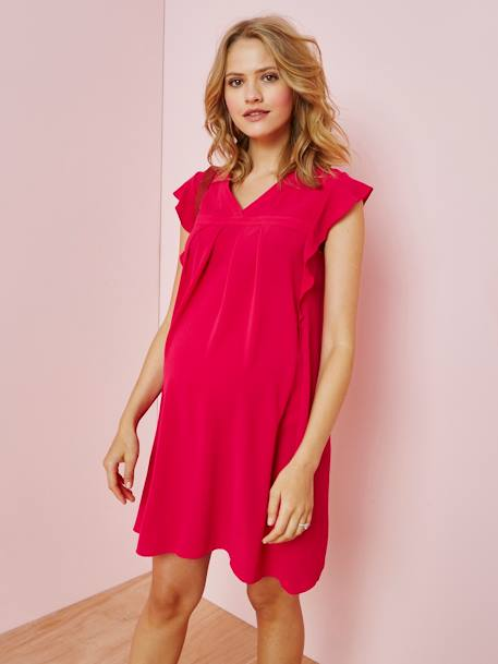 Special Occasion Dress with Ruffle on the Sleeves, Maternity Special PINK MEDIUM SOLID - vertbaudet enfant