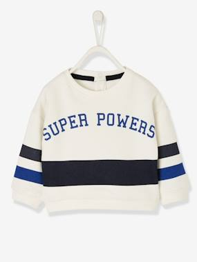 Baby-Jumpers, Cardigans & Sweaters-Sweaters-Sweatshirt with Stripe at the Bottom, for Baby Boys