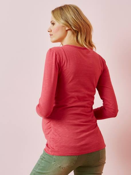 Long-Sleeved Grandad-Style Top, for Pregnancy & Nursing BLUE DARK SOLID+GREEN DARK SOLID+PINK MEDIUM SOLID - vertbaudet enfant
