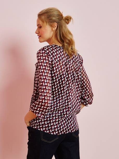 Maternity Printed Blouse RED MEDIUM ALL OVER PRINTED - vertbaudet enfant