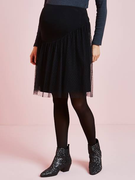 Plumetis Skirt, for Maternity BLACK DARK SOLID WITH DESIGN - vertbaudet enfant