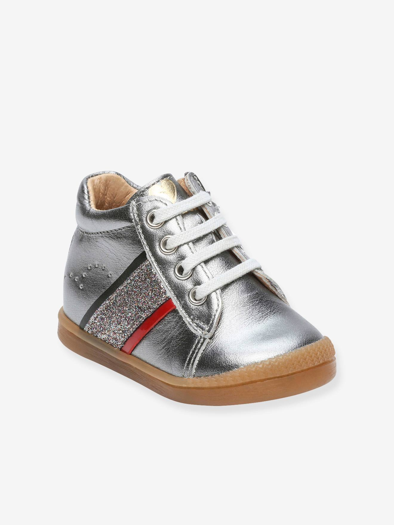 good quality huge selection of outlet store Leather High Top Trainers for Baby Girls, Faela by Babybotte® - grey medium  metallized, Shoes