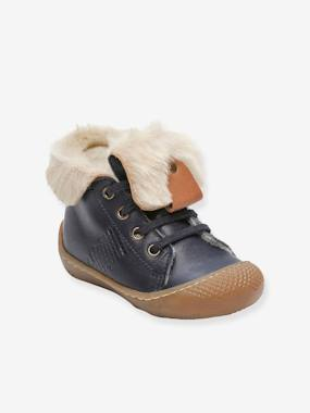 Shoes-Baby Footwear-Baby Boy Walking-Leather Ankle Boots, Fur Lined, for Baby Boys, Abufl by Babybotte®