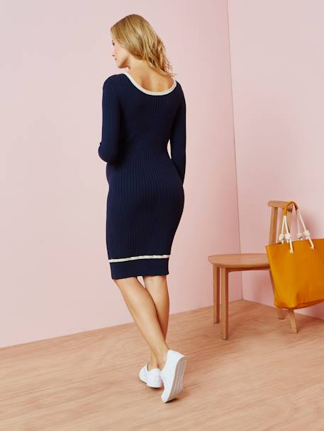 Maternity Sweater Dress BLUE DARK SOLID - vertbaudet enfant