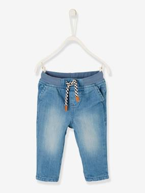Baby-Trousers & Jeans-Lined Jeans for Baby Boys, Elasticated Waistband