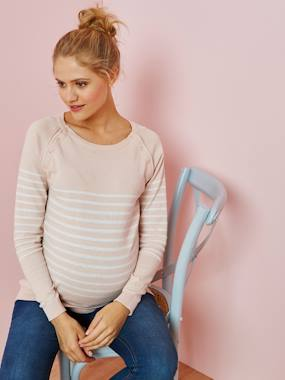 Maternity-Knitwear-Striped Jumper, for Nursing