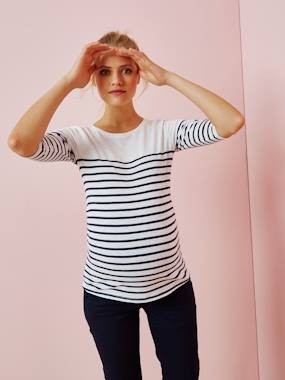 Maternity-T-shirts & Tops-Three-Tone Navy-Style Top for Maternity