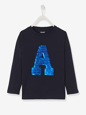 Vertbaudet Collection-Boys-Top with Reversible Sequins, for Boys