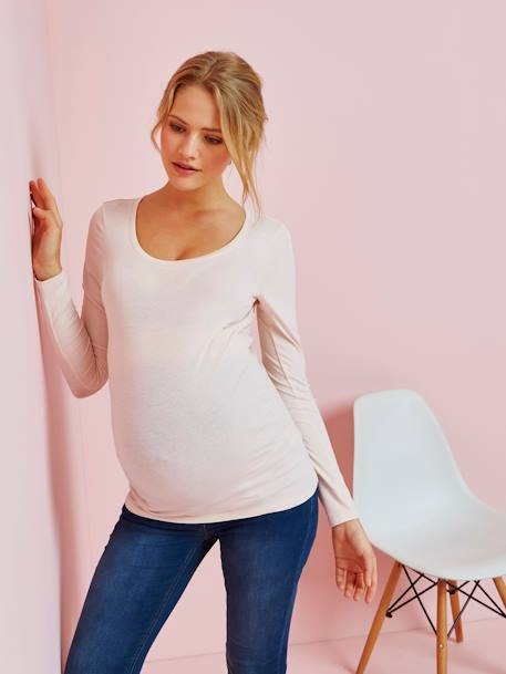 Maternity Long-Sleeved Top BLUE DARK SOLID+PINK MEDIUM SOLID - vertbaudet enfant