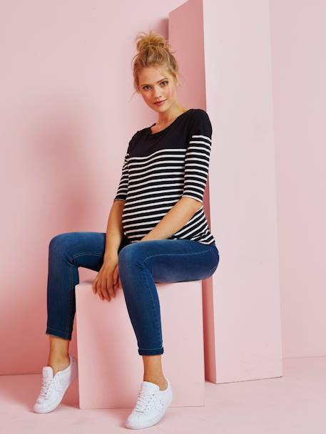 Three-Tone Navy-Style Top for Maternity BLACK DARK STRIPED+WHITE LIGHT STRIPED+WHITE MEDIUM STRIPED - vertbaudet enfant