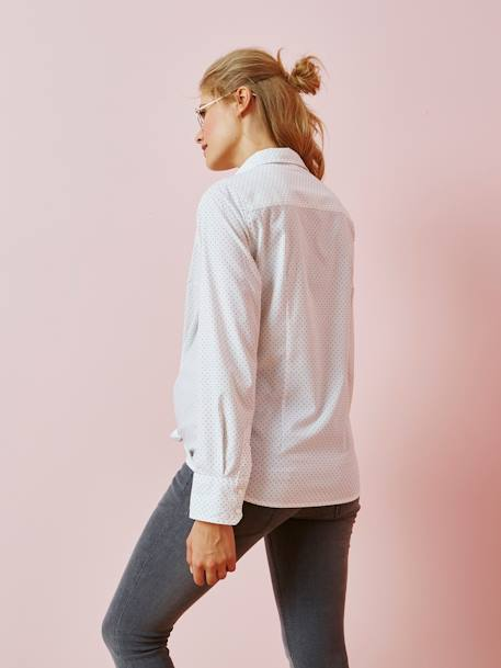 Poplin Shirt with Printed Dots for Maternity WHITE LIGHT ALL OVER PRINTED - vertbaudet enfant