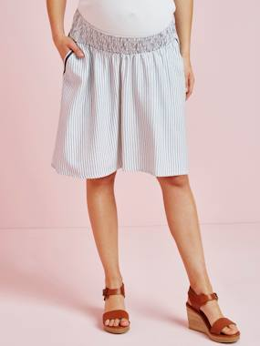Vertbaudet Collection-Maternity-Skirts-Striped Maternity Skirt in Viscose & Linen
