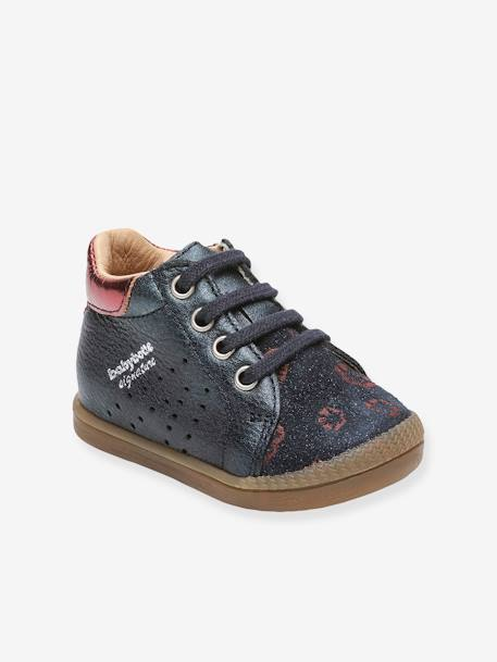 meet really comfortable 2018 shoes Leather High Top Trainers for Baby Girls, Fasty by Babybotte® - blue dark  metallized, Shoes