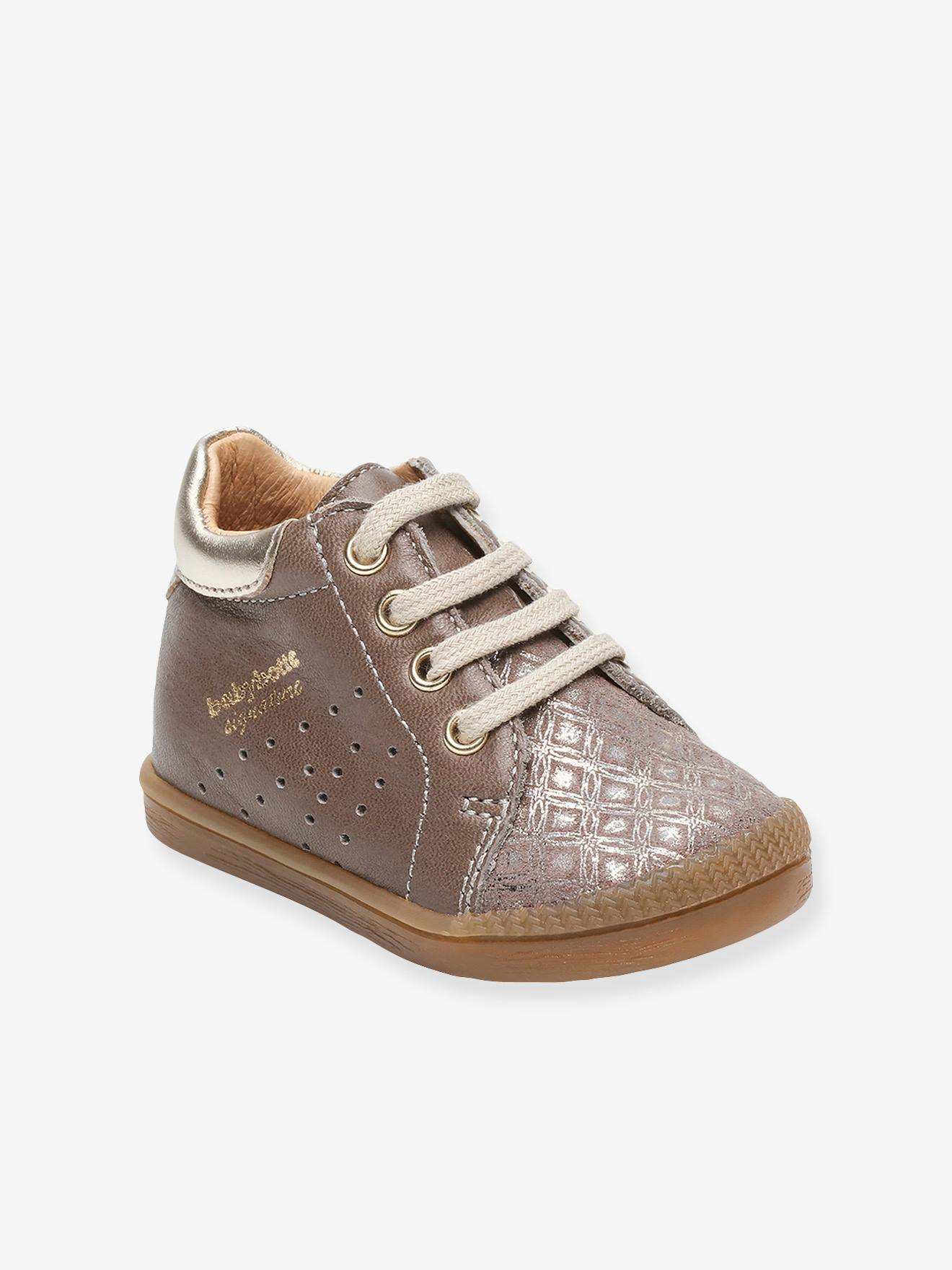 many fashionable official photos later Leather High Top Trainers for Baby Girls, Fasty by Babybotte® - beige  medium solid, Shoes