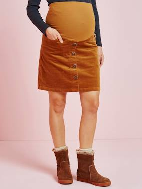 Vertbaudet Collection-Maternity-Skirts-Corduroy Maternity Skirt