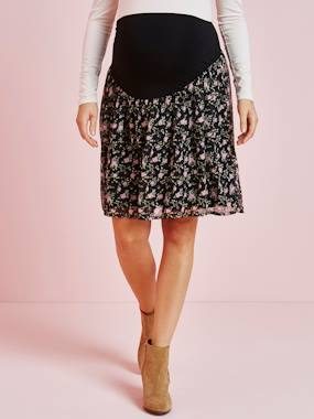 Vertbaudet Collection-Maternity-Skirts-Maternity Printed Fluid Skirt