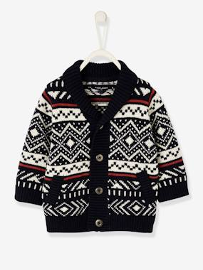 Baby-Jumpers, Cardigans & Sweaters-Cardigans-Jacquard Knit Cardigan, for Baby Boys