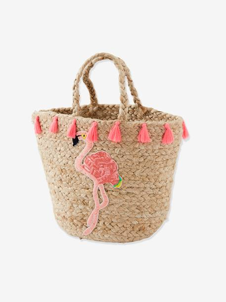 Pink Flamingo Basket with Pompons for Girls BEIGE MEDIUM SOLID - vertbaudet enfant