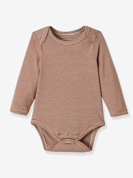 Pack of 3 Progressive Bodysuits in Stretch Cotton, Long Sleeves BROWN LIGHT 2 COLOR/MULTICOL+PINK MEDIUM 2 COLOR/MULTICOL - vertbaudet enfant
