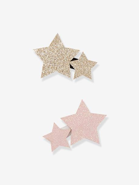 Set of 2 Star Hair Clips PINK BRIGHT SOLID WITH DESIG - vertbaudet enfant