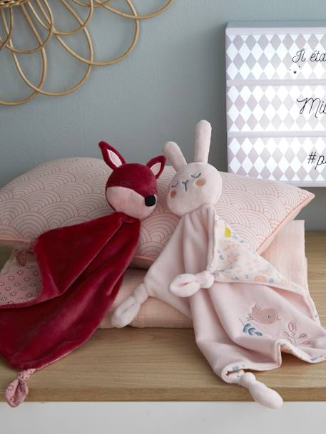 Baby Comforter, Rabbit PINK LIGHT SOLID WITH DESIGN - vertbaudet enfant