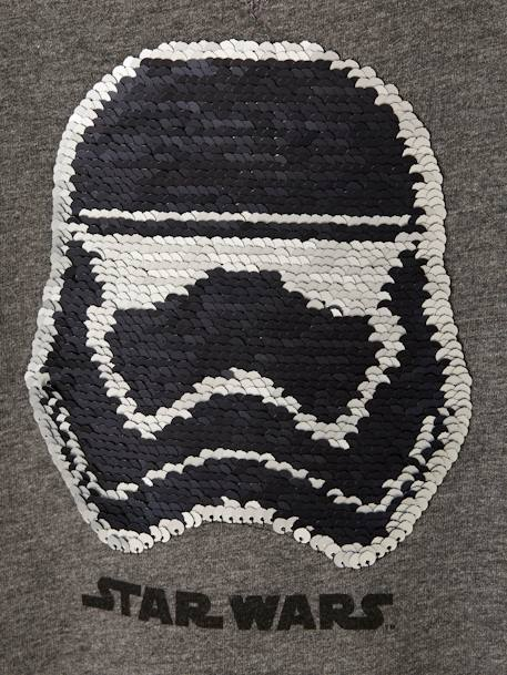 Sweatshirt for Boys, with Reversible Sequins Motif, Star Wars® GREY DARK SOLID WITH DESIGN - vertbaudet enfant