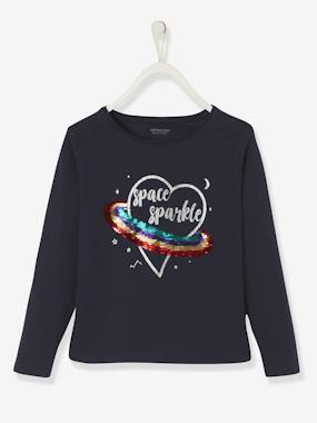Vertbaudet Collection-Girls-Tops-Top with Reversible Sequins, for Girls
