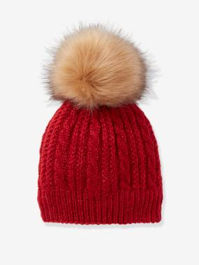 Girls-Accessories-Hair Accessories-Beanie in Fine Cable Knit, with Pompom