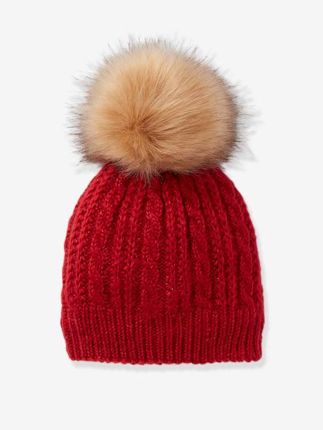 Beanie in Fine Cable Knit, with Pompom RED DARK SOLID+WHITE LIGHT SOLID - vertbaudet enfant