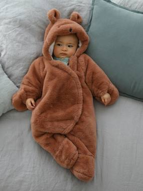 Baby-Outerwear-Snowsuits-Padded Pramsuit, Plush Look, for Babies