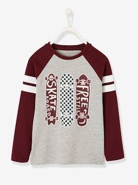 Boys-Tops-T-Shirts-Top with Striped Long Sleeves & Skateboard Motif for Boys