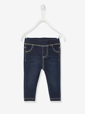 Baby-Trousers & Jeans-Treggings in Printed Denim for Baby Girls