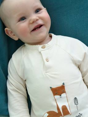 Baby-T-shirts & Roll Neck T-Shirts-2-in-1 Bodysuit Top with Fox, for Newborn Babies
