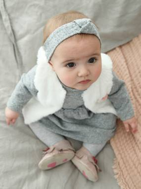 Baby-Dresses & Skirts-Faux Fur Waistcoat + Marl Dress & Headband Ensemble for Newborn Baby