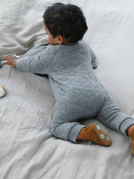 Fleece Jumpsuit for Newborn Babies GREY LIGHT MIXED COLOR - vertbaudet enfant