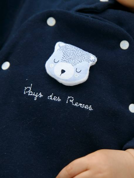 Fleece Sleepsuits with Press-Studs on the Front, for Babies BLUE DARK SOLID+GREY MEDIUM MIXED COLOR+PINK LIGHT SOLID - vertbaudet enfant