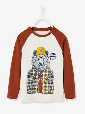 Vertbaudet Collection-Boys-Top for Boys, Bear Motif, Contrasting Sleeves