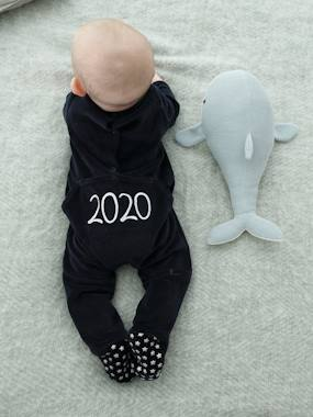 Vertbaudet Collection-Baby-Marled Velour Sleepsuit for Babies, Press Studs on the Back