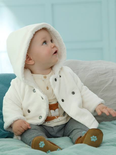 Corduroy Coat for Newborn Babies PINK MEDIUM SOLID+WHITE MEDIUM SOLID - vertbaudet enfant