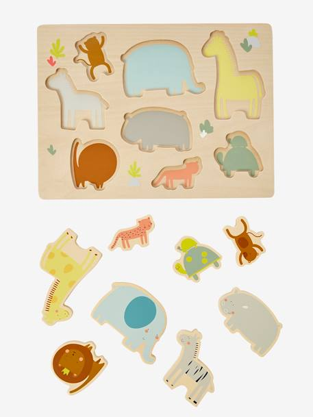 Sorting Puzzle, Jungle BROWN LIGHT SOLID WITH DESIGN - vertbaudet enfant