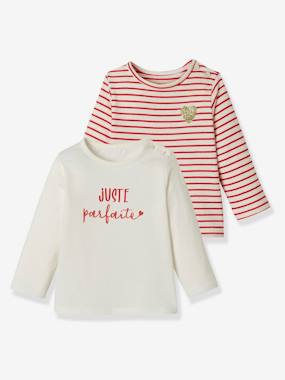 Vertbaudet Basics-Baby-Pack of 2 Long-Sleeved Tops, for Baby Girls