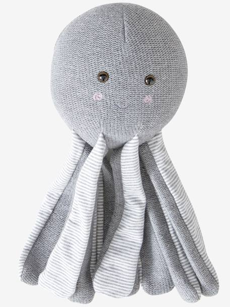 Octopus Soft Toy GREY MEDIUM SOLID WITH DESIGN - vertbaudet enfant