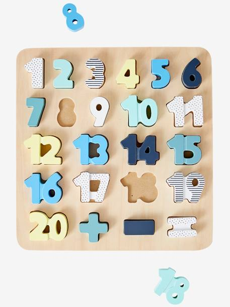 Numbers Puzzle BEIGE MEDIUM SOLID WITH DECOR - vertbaudet enfant