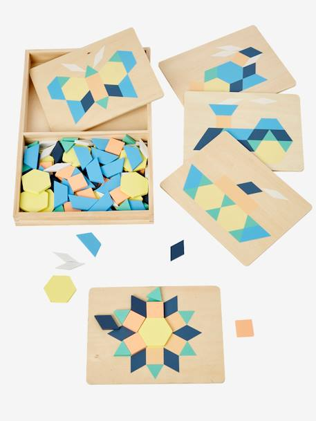 Wooden Tangram BLUE DARK SOLID WITH DESIGN - vertbaudet enfant