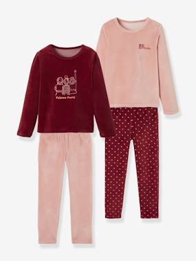 Vertbaudet Collection-Girls-Pack of 2 Velour Pyjamas for Girls